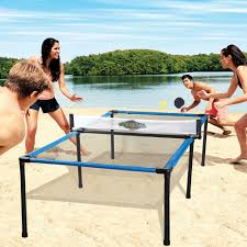 the beach table tennis set hammacher schlemmer