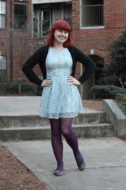 light blue lace dress with purple tights and colorful