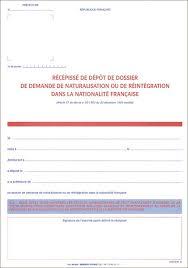 bureau de naturalisation récéé de dépôt de dossier de demande de naturalisation ou de