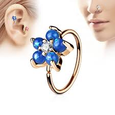 gold piercing rings images Rose gold piercing ring with flower of coloured opal stones jpg