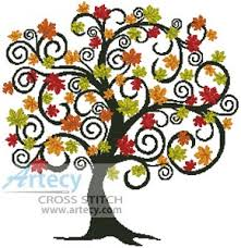 artecy cross stitch decorative autumn tree counted cross stitch