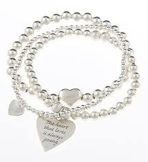 sterling silver bracelet with heart images Bijoux rocks sterling silver love heart message bracelet stack jpg