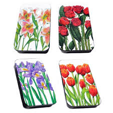 gift card tin floral flowers gift card silver crane tin filled with chocolate