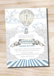 Blank Baptism Invitation Cards Up Up And Away Air Balloon Baptism Invitation Printable