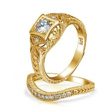 gold wedding rings sets antique silver cz vintage waved anniversary wedding ring set