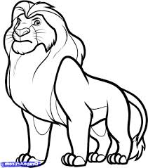 coloring charming lion simple drawing draw