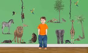 jungle animal wall stickers walltastic themed wallpaper safari