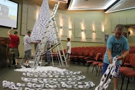 White Christmas Paper Decorations by Christmas Church Decorating Ideas Jingle Bells Diy Paper
