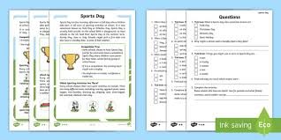 ks1 sports day differentiated reading comprehension activity