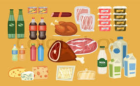 daily food products icons beverage sausage poultry bacon