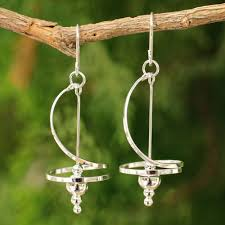 thailand earrings handmade sterling silver pirouette drop swirl stately earrings