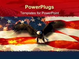powerpoint template a beautiful hawk with an american flag in the