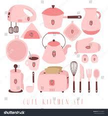 set cute pastel kitchen utensil collection stock vector 411424027