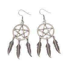 dangly earrings 1pair pentagram angelwing dreamcatcher dangly earrings wicca witch