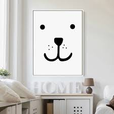 modern nordic home decor kawaii bear face poster wall picture
