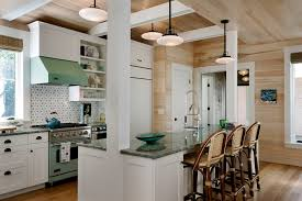 Kitchen Island Columns Columns And Beams Kitchen Beach Style With Exposed Pine Kitchen Island