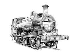 old steam locomotive engine retro vintage drawing stock photo