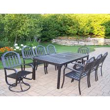 Cast Iron Patio Dining Sets - oakland living rochester 9 piece patio dining set with 2 swivel