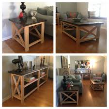 rustic x console table white coffee table and end tables ana rustic x console diy projects