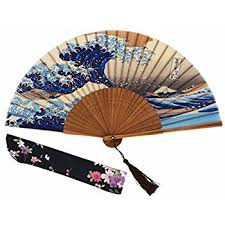 japanese folding fan japanese bamboo design handheld folding silk fan