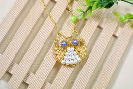 diy beaded pendant necklace images How to make an attractive beaded necklace with a gold owl pendant jpg