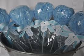 baby shower favor bath puff lollipop with tag blue and white zoom