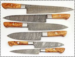 handmade kitchen knives for sale 6 pieces handmade damascus wood bbq chef knives set damascus