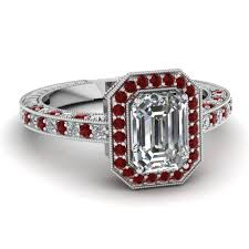 ruby emerald rings images Emerald cut octagon halo antique vintage diamond engagement ring jpg