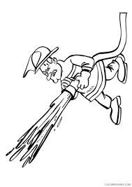 firefighter coloring pages hose spraying coloring4free