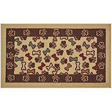 Pet Resistant Rugs Amazon Com Pet Paw And Bone Design Brown Aqua Blue Printed Slip