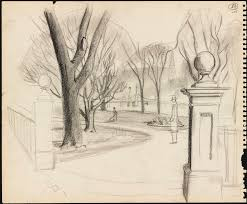 sketch of the entrance to the boston public garden figure in the