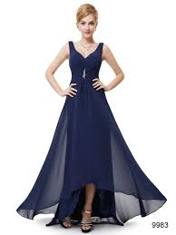 navy blue double v neck rhinestones high low bridesmaid dress blue