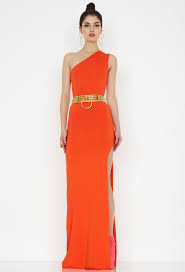 new hutch orange one shoulder maxi dress