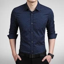 new fashion dot men shirt slim fit mens dress shirts camisas