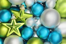balls bulbs white blue green star toys christmas scenery winter