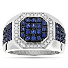 blue man rings images Unique 14k gold diamond and blue sapphire mens ring by luxurman 1 8ctw jpg