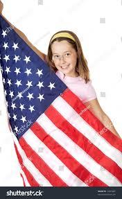 Big American Flags Pretty Holding American Flag Big Stock Photo 12597685