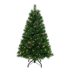 4 foot pre lit monterey pine tree faux trees home