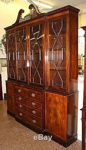 Break Front Cabinet Best Quality Old Baker Chippendale Mahogany Breakfront Bookcase