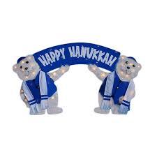 happy hanukkah signs shop christmas central metal lighted polar bears holding happy