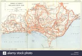 Cannes Map by France Cannes Le Cannet Vallauris Golfe Juan 1926 Vintage Map