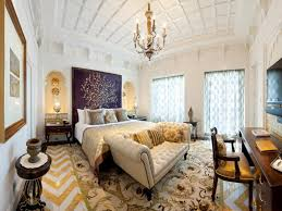 traditional bedroom decorating ideas with charming gold chandelier