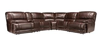 Brown Leather Sectional Sofas With Recliners Dowling 6 Pc Sectional Sofa W 2 Power Recliners Walnut