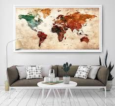 world map push pin artwork travel theme large world map