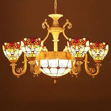 Orange Glass Chandelier 9 Light Tiffany Stained Glass Chandelier For Living Room