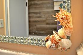 beach themed diy seashells and glass gem mirror decor themrsinglink