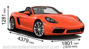 porsche boxster engine specs dimensions of porsche cars showing length width and height