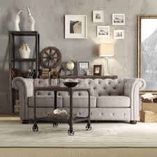 Linen Chesterfield Sofa by Homesullivan Radcliffe Grey Linen Sofa 40e208s Gl1sofa The Home