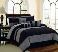 Microsuede Duvet Cover Queen 6 7 Pc Black And Grey Micro Suede Striped Comforter Set Legacy Decor