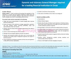 Salary Expectations On Resume General Manager Required By Kpmg In Muscat Oman Kobuqs
